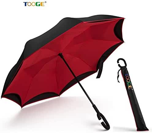 New Creative Inverted Umbrella Cars Reverse Umbrella by Tooge,  Windproof and Self-Standing, with C-Shaped Handle and Umbrella Cover