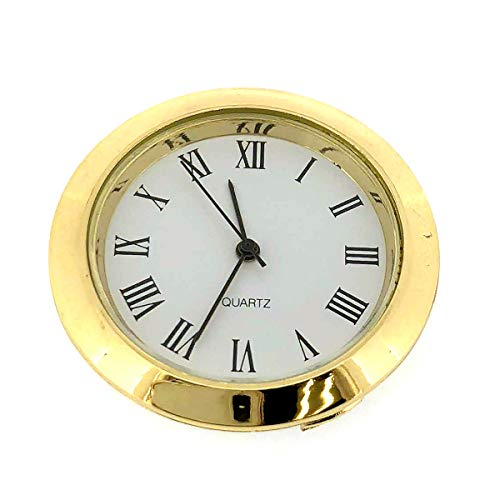 Mini Clock Quartz Movement Insert Round White Dial Gold Tone Bezel Roman Number ()