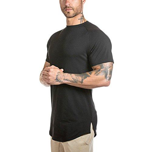(Mens Slim Fitted Gym Athletic Muscle T-Shirt Longline Hipster Raglan Sleeve Curved Hem Shirts Tees (L, Black))