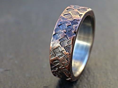 Amazon.com: rustic copper ring wedding, mens promise ring