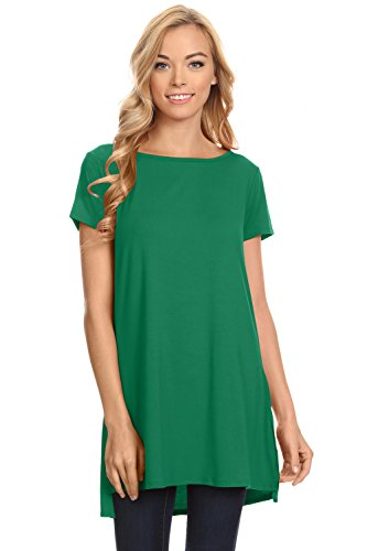 Top Emerald Green (Womens Solid Side-Slit Short Sleeve and Sleeveless Round Neck Tunic Top Emerald XX-Large)