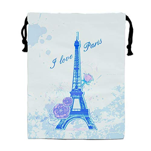 The Eiffel Tower I Love The French Pink Roses In Paris Unisex Lightweight Bag Gym Drawstring -