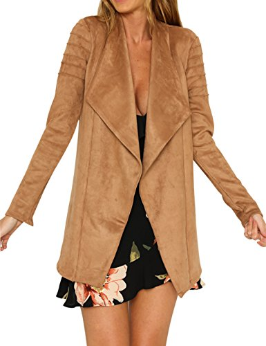 Ladies Suede Leather Coat (Swmmer Liket Women's Zipper Long Open Casual Suede Leather Jacket Trench Coat Outwear)