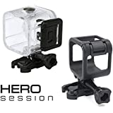 RAXPY Combination of Waterproof Housing and Frame for GoPro Session 4, Session 5, The housing is a Protective Hard case for Underwater Photography up to 40M