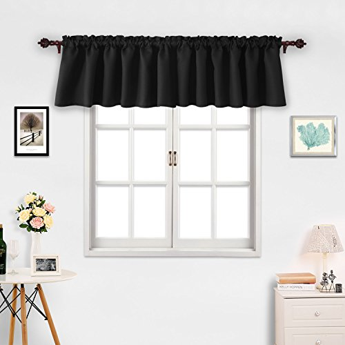 Deconovo Black Valances for Window Kitchen Valance Textured Embossed Blackout Valance Curtain 42x18 Inch 2 PCS (Kitchen Valances And Curtains)