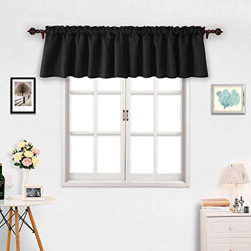Deconovo Black Valances for Window Kitchen Valance Textured Embossed Blackout Valance Curtain 42x18 Inch 2 PCS (Valances Kitchen Curtains And)
