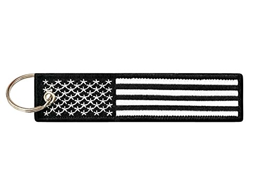 Flag Key Ring - Flag Keychain Tag with Key Ring, EDC for Motorcycles, Scooters, Cars and Gifts (USA Black and White)