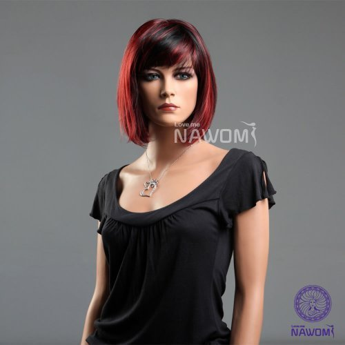 New Fashion Girls Women Bob Short Straight Red Black Wigs Hair Ladies Cosplay Party (Red And Black Wigs)