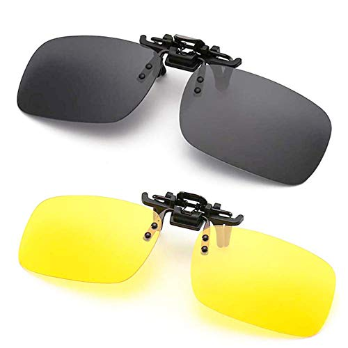 Polarized Clip-on Sunglasses Anti-Glare Driving Glasses for Prescription Glasses (Night Vision Lens + -