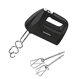 Electric Hand Mixer with 5 Speed 250W Turbo, Kitchen Handheld Mixer with 4 Stainless Steel Attachments for Whipping Mixing Cookies, Brownies, Cakes, Dough Batters
