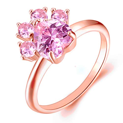 JIANGYUE Cat Dog Paw Rings for Women Pink AAA Cubic Zirconia Rose Gold Plated Halo Dainty Ring Party Jewelry Christmas Day Gift Size 9