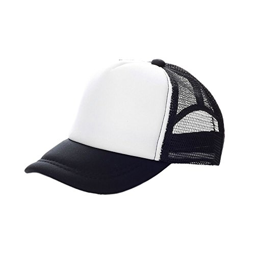 Opromo Kids Two Tone Mesh Curved Bill Trucker Cap, Adjustable Snapback, 14 Colors-Black/White-24 - White Snapback Mesh