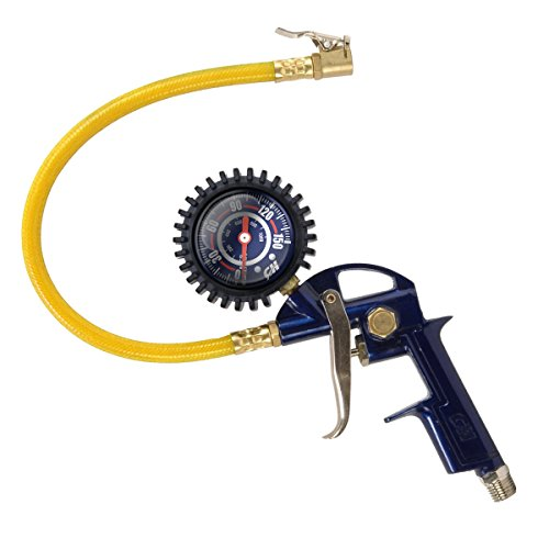 "Tire Inflator, 3-in-1 Inflation Gun, with Gun, Locking Chuck and 2-inch Gauge, ¼"" NPT and Flexible Hose (Campbell Hausfeld MP600000AV) - Guage Wheel"