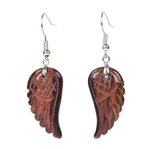 Red Tiger Eye Gemstone Crystal Healing Reiki Chakra Handmade Angel Wing Dangle Earrings ()