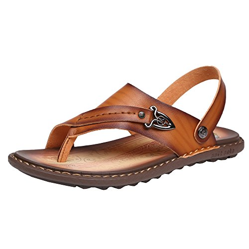 SLL-LZF-7885-huang-38 SUNROLAN Arno Mens Microfiber Leather Universal Sandals Toe Ring Style House Flat Sandals Shoes Light Brown US - Leather Arno