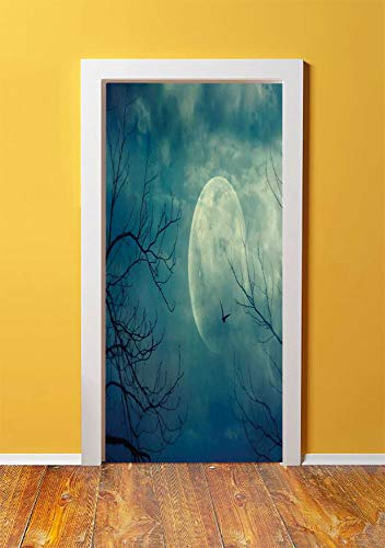 (Horror House Decor 3D Door Sticker Wall Decals Mural Wallpaper,Halloween with Full Moon in Sky and Dead Tree Branches Evil Haunted Forest,DIY Art Home Decor Poster Decoration)