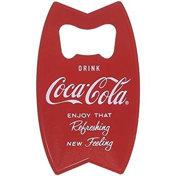 Tablecraft CC343 Stainless Steel Coca-Cola Bottle Opener Fridge Magnet, Red
