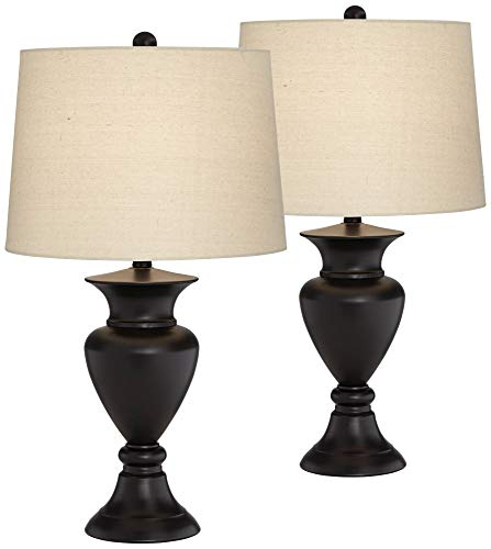 Traditional Table Lamps Set of 2 Dark Bronze Urn Ivory Tapered Drum Shade for Living Room Family Bedroom Nightstand - Regency Hill