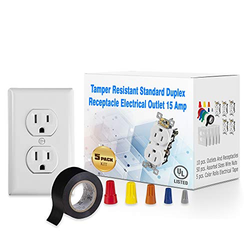 Maximm 5 Pack Tamper Resistant Standard Wall Outlet Duplex Receptacle Electrical Outlet 15A, Wall Plate, White, Assorted Screw on Wire Connector Twist-on Cap Wire Nuts, PVC Vinyl Electrical Tape - UL