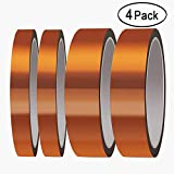 Heat Resistant Tape, Aniann 4 Rolls High Temperature Kapton Tape Sublimation Tape 2 Sizes Polyimide Film Adhesive Tape for Heat Transfer Vinyl, 3D Printing, Soldering, Masking (20mm, 10mm)