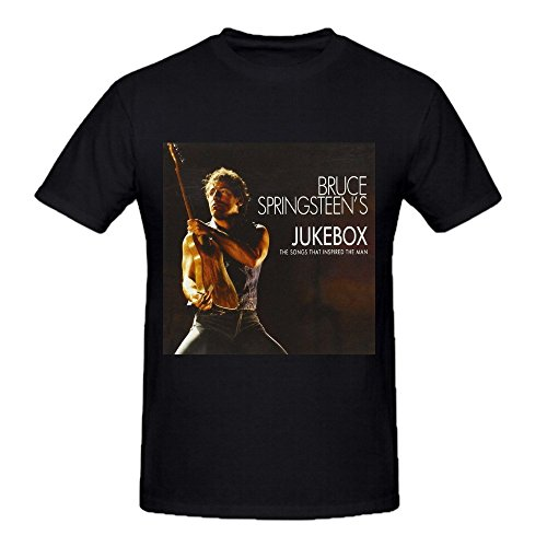 Bruce Springsteen's Jukebox Young Men Tee Shirts Crew Neck Black
