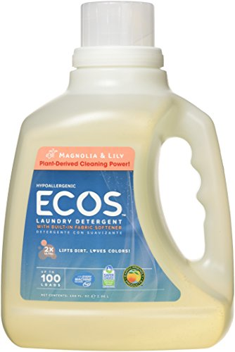 Eco Friendly Laundry Soap (Earth Friendly Products ECOS 2x Liquid Laundry Detergent With Built in Softener, Magnolia & Lily, 100 Loads, 100-Ounce Bottle (Pack of 2))