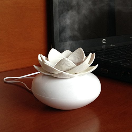 YJY Mini 100mL Aromatherapy Essential Oil Diffuser, Office Lotus Flower Humidifier Auto Shut-off, USB Silent Ultrasonic Air Humidifier Purifier Oxygen Therapy - Plastic White