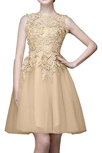 La Abendkleider Beige Cocktailkleider mit Spitze Champagner Ballkleider mia Kurzes Mini Braut Knielang Tanzenkleider wqwnZr6a