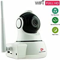 Wireless Security Camera - Pripaso 720P HD Wireless IP Camera Cloud Storage Home Security Surveillance Camera for Per Baby Elder Nanny Monitor with Motion Detection Two-way Audio, Night Vision, White
