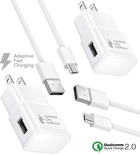 Samsung Galaxy S7 Active Charger Fast Micro USB 2.0 Cable Kit by TruWire {2 Fast Wall Charger + 2 Micro Cable} True Digital Adaptive Fast Charging uses dual voltages for up to 50% faster charging! ()