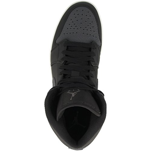 Nike Air Jordan 1 Mid Herren Basketballschuhe Schwarz (Blackdark Gr E Y Summit White 041)