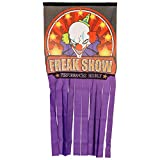 Halloween Haunters Hanging Clown Doorway Entryway Window Curtain or Door Cover - 66'' x 31'' Freak Show Haunted House Party Banner Entrance Prop Decoration