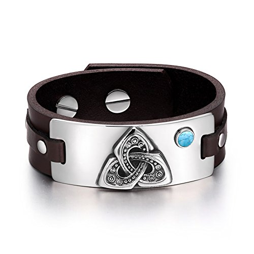Celtic Triquetra Knot Magic Powers Amulet Tag Simulated Turquoise Adjustable Dark Brown Leather Bracelet