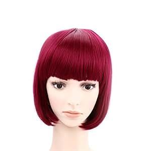 TqmarketShort Burgundy Red Hairstyle Wig