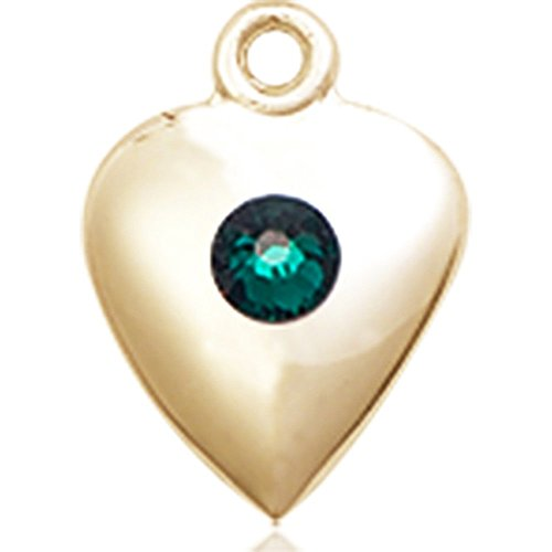 14kt Yellow Gold Heart Medal with 3mm May Green Swarovski Crystal 1 1/4 x 1 5/8 inches by Bonyak Jewelry Saint Medal Collection