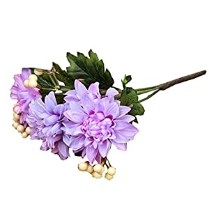 DEESEE(TM) Artificial flowers Bouquet Ivory Dahlia Fake Silk Flower Fake Flower Wedding Home Decor Bouquet (purple) 10