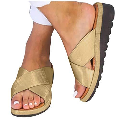 (2019 New Women Comfy Platform Toe Ring Wedge Sandals Shoes Summer Beach Travel Shoes Comfortable Flip Flop)