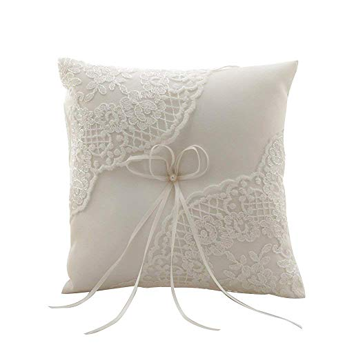 - Amajoy Satin and Lace Wedding Ring Pillow Cushion Embroider Flower with Bow , 8 Inch (21cmx 21cm) Ring Bearer for Beach Wedding, Wedding Ceremony