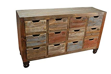 Industrial Rustic Solid Wood Console Chest Of Drawers Media Stand W/  Multiple Drawers On Wheels
