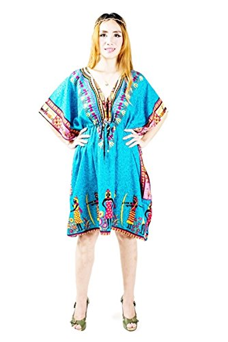 Thai Dress For Women Bohemian Dashiki Style by Thai Fashion Fang (Green Blue Free Size)
