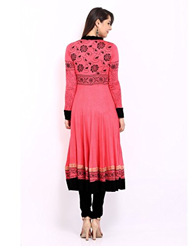 Ira Soleil Womens Ethnic Viscose Knit Pink & Black Printed Anarkali Kurta Kurti Extra Large Pink