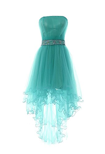 Beaded Strapless Prom Dress - Fanciest Women's Strapless Beaded High Low Prom Dresses Short Homecoming Gowns Turquoise Blue US12