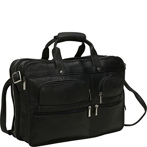 David King Leather Multi Pocket Expandable Laptop Bag in Black (Leather David King Distressed)