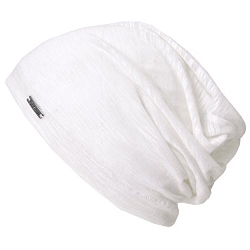 CHARM Casualbox | Mens Womens Beanie Hat Summer Cotton Thin Light Slouchy Unisex Sweat White (White Cotton Skull Cap)