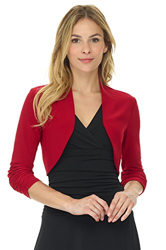 Rekucci Women's Chic Soft Knit Stretch Bolero Shrug with Ruched Sleeves ()
