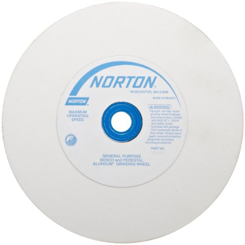 Norton Premium White Alundum Bench and Pedestal Grinding Wheel, Type 01, Round Hole, Aluminum Oxide, 6'' Diameter, 1'' Arbor, 1'' Thickness, 100 Grit, 4140 rpm by Norton Abrasives - St. Gobain