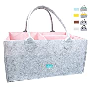 Baby Diaper Caddy Organizer - Baby Shower Gift Basket for Boy Girl | Nursery Storage Bin tote Changing Table | Cute Infant Gift Bag | Portable Travel Car Organizer | Newborn Registry Must Haves (Pink)