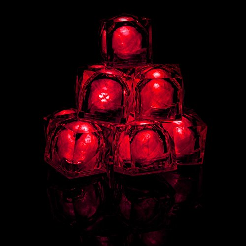 Fun Central AC970 LED Light Up Light Up Ice Cubes - Red - 12pcs