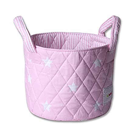 Minene Small Fabric Storage Basket Organiser with Handles Pink Star 21167