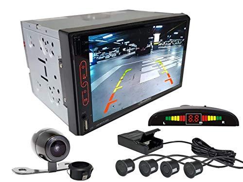 Multimidia Mp7 RS-707MP7 Com Câmera De Ré RS-121BR E Sensor De Estacionamento RS-104BR PRETO FOSCO